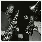 "view John Coltrane and Lee Morgan at Coltrane's September 15, 1957 session for ""Blue Train"" (Blue Note) at the Van Gelder studio, New Jersey [black-and-white photoprint] digital asset: John Coltrane and Lee Morgan at Coltrane's September 15, 1957 session for ""Blue Train"" (Blue Note) at the Van Gelder studio, New Jersey [black-and-white photoprint]."