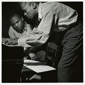 "view J.J. Johnson and Miles Davis at Davis's session of April 20, 1953 for ""The Miles Davis All-Stars"" (Blue Note) at WOR Studios, New York City [black-and-white photoprint] digital asset: J.J. Johnson and Miles Davis at Davis's session of April 20, 1953 for ""The Miles Davis All-Stars"" (Blue Note) at WOR Studios, New York City [black-and-white photoprint]."