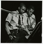 "view Dexter Gordon and Freddie Hubbard at Gordon's May 6, 1961 session for ""Doin' All Right"" (Blue Note) at the Van Gelder Studio, New Jersey [black-and-white photoprint] digital asset: Dexter Gordon and Freddie Hubbard at Gordon's May 6, 1961 session for ""Doin' All Right"" (Blue Note) at the Van Gelder Studio, New Jersey [black-and-white photoprint]."