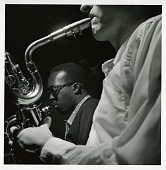 "view Hank Mobley and Pepper Adams at Mobley's October 20, 1957 session for ""Poppin"" (Blue Note) at the Van Gelder Studio, New Jersey [black-and-white photoprint] digital asset: Hank Mobley and Pepper Adams at Mobley's October 20, 1957 session for ""Poppin"" (Blue Note) at the Van Gelder Studio, New Jersey [black-and-white photoprint]."