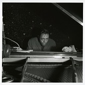 "view Horace Silver at the November 23, 1955 session for ""The Jazz Messengers at Cafe Bohemia (Blue Note) [black-and-white photoprint] digital asset: Horace Silver at the November 23, 1955 session for ""The Jazz Messengers at Cafe Bohemia (Blue Note) [black-and-white photoprint]."