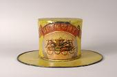 view Diligent Fire Company / Veteran Fireman's Fire Hat digital asset: Diligent Parade Hat worn by veteran fireman, front