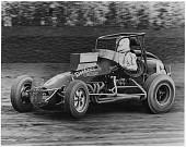 view Stapp-Chevrolet Sprint Car, 1973 digital asset: Photograph of Duane 'Pancho' Carter, Jr. driving Stapp-Chevrolet sprint car, 1973