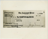 view $500 Check Paid by the Associated Press to Murray Becker digital asset number 1