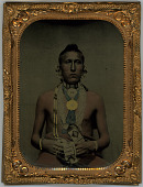 view Pawnee Man digital asset: Copper framed tinted portrait of a Native American man
