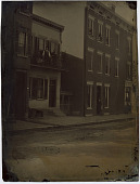 view Gest & Carr St., Cincinnati, Ohio digital asset: Tintype of a street scene showing townhouses and people (Cincinnati, Ohio)