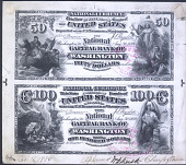 view Proof sheet for $50-100 of the National Capital Bank of Washington, DC, 1889 digital asset number 1