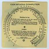 view Gurley Cox's Stadia Computer Circular Slide Rule digital asset: Slide rule - Cox's Stadia Computer - Front View