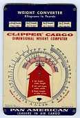 view Perrygraf Clipper Cargo Dimensional Weight Computer Circular Slide Chart digital asset: Slide rule - Clipper Cargo Dimensional Weight Computer - Front View