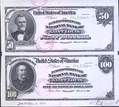 view Proof sheet for $50-100 of the Bankers World's Fair National Bank of St. Louis, Missouri. 1904. digital asset number 1