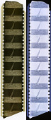 view Strip of 35mm Film digital asset: Piece of 35mm motion picture negative film showing a sailboat; at left, original; at right, positive image