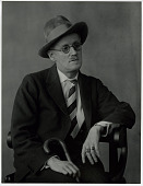 view James Joyce digital asset: Photograph by Berenice Abbott, portrait of James Joyce