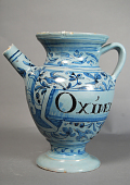 view OXIMEL digital asset: Blue pitcher with bugs and birds. Inscription 'Oximel Compos'