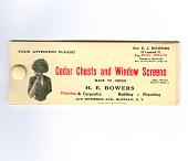 view H.E. Bowers digital asset: Blotter, Cedar Chests and Window Screens, H.E. Bowers