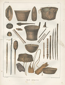 "view Lithograph of ""Indian Antiquities"" pottery artifacts digital asset: American Indian woodenware / Plate X"