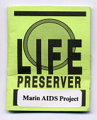 view Marin AIDS Project LIFE PRESERVER Condom digital asset: Front of the outer packaging boxed
