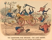 """view Lithograph, """"The Darktown Fire Brigade: The Last Shake"""" (2) digital asset number 1"""