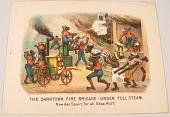 "view Lithograph, ""The Darktown Fire Brigade: Under Full Steam"" digital asset number 1"