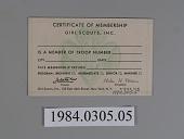 view Girl Scout Membership Certificate digital asset: Back.