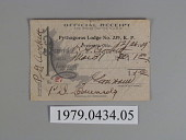 view Knights of Pythias Receipt Card digital asset number 1