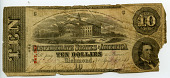 view 10 Dollars digital asset: $10 Confederate States of America paper money, front.