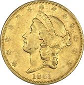 view 20 Dollars, United States, 1861 digital asset number 1