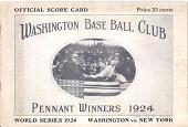 view Washington Senators Score Card, World Series 1924 digital asset number 1