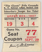 view Baseball Ticket Stub for the Last Baseball Game Played at the Polo Grounds, September 29, 1957 digital asset number 1