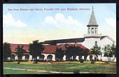 "view Postcard showing ""San Juan Mission and Church, Monterey, California"" digital asset number 1"