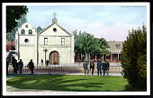 """view Postcard showing """"Old Mission Church and Plaza, Los Angeles, California"""" digital asset number 1"""