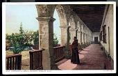 "view Picture postcard, ""Corridor at Santa Barbara Mission, Calif. Founded 1786"" digital asset number 1"