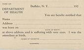 view Postcards, Bureau of Child Hygiene Department of Health Buffalo digital asset: Bureau of Child Hygiene Department of Health Buffalo, back