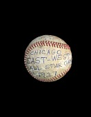 view Baseball used in the 1937 Negro League East-West All-Star Game digital asset number 1