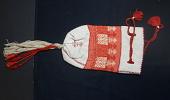 """view Greek embroidery """"Folk handicraft"""" purse; Denison House, Lowell, Mass. branch digital asset number 1"""