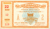 view Olympic Ticket for Track and Field at the 1932 Summer Olympics in Los Angeles, California digital asset number 1