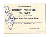 view Fan Club Card, autographed by Bobby Vinton digital asset number 1