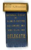 view National League of Women Voters Delegate Badge, 1922 digital asset number 1