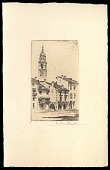 view European street scene with clock tower in background digital asset number 1