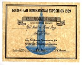 view Certificate of Merit, 1939 Golden Gate International Exposition digital asset number 1
