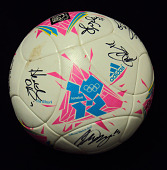 view Soccer Ball autographed by the 2012 Women's Olympic Team digital asset: Soccer ball, 2012 Olympics
