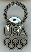 view USA souvenir pin from the 2004 Athens Summer Olympic Games digital asset: 2004 Olympics pin, USA