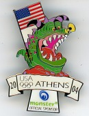 view Monster souvenir pin is the official mascot from the 2004 Athens Summer Olympic Games digital asset: 2004 Olympics pin, Monster