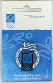view Souvenir pin from the 2004 Athens Summer Olympic Games digital asset: 2004 Olympics pin, Greek flag