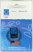 view Souvenir pin from the 2004 Athens Summer Olympic Games digital asset: 2004 Olympics pin, USA flag