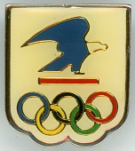 view United States Postal Service souvenir pin from the 2004 Athens Summer Olympic Games digital asset: 2004 Olympics pin, United States Postal Service