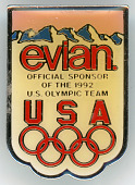 view Evian sponsor pin created for the 1992 Barcelona Summer Olympic Games digital asset: Evian olympic pin