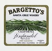 """view Wine bottle label, """"Bargetto's Zinfandel,""""1930s digital asset number 1"""
