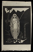 view Angel at the Tomb digital asset: Woodcut by Benjamin Miller, 'Angel at the Tomb,' 1924