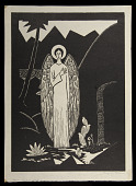 view Angel at the Tomb digital asset: Woodcut by Benjamin Miller, 'Angel at the Tomb,' 1927