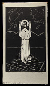 view Christ Walking on Water digital asset: Woodcut by Benjamin Miller, 'Christ Walking on Water,' 1924